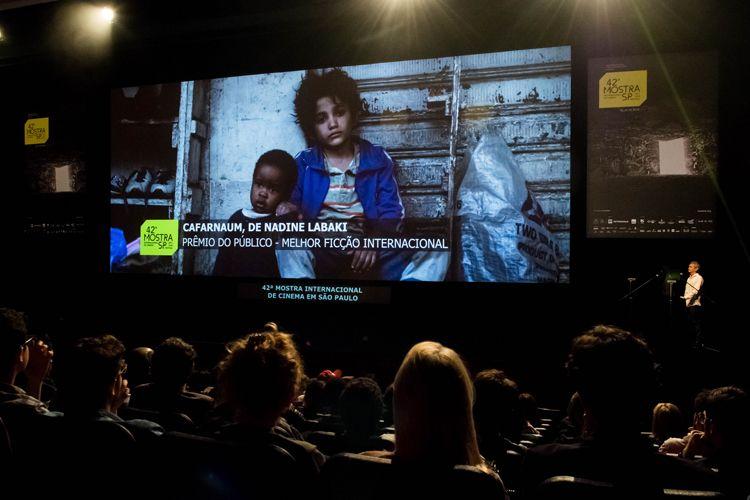 Auditorio Ibirapuera/ 42ª Mostra Internacional de Cinema/São Paulo Int`l Film Festival - Cerimônia de Premiação e Encerramento - Na tela: Cafarnaum, filme vencedor do Prêmio do Público de Melhor Ficção Internacional